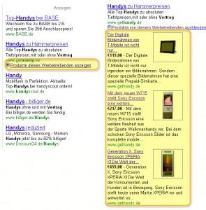Adwords aufklappbare Artikelwerbung